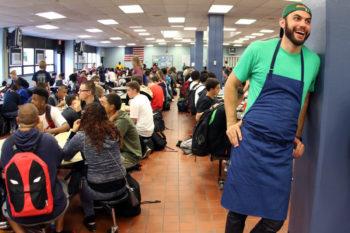 Dan Giusti in a lunchroom. (Photo courtesy of Brigaid)