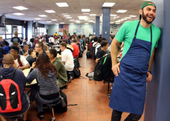 Dan Giusti in a lunchroom. (Photo courtesy of Brigaid)