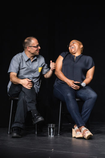 Sam Mogannam and Tanya Holland laugh during the Airbnb event. (Photo © Chef Daniela Gerson)