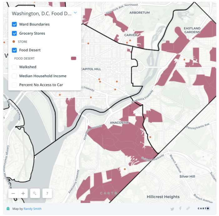 "A map of Washington, D.C., ""food deserts"" reveals that roughly half of the Deanwood neighborhood (the red triangle in the northeast, near Fairmount Heights) lacks options for purchasing food. The orange dots indicate grocery stores."