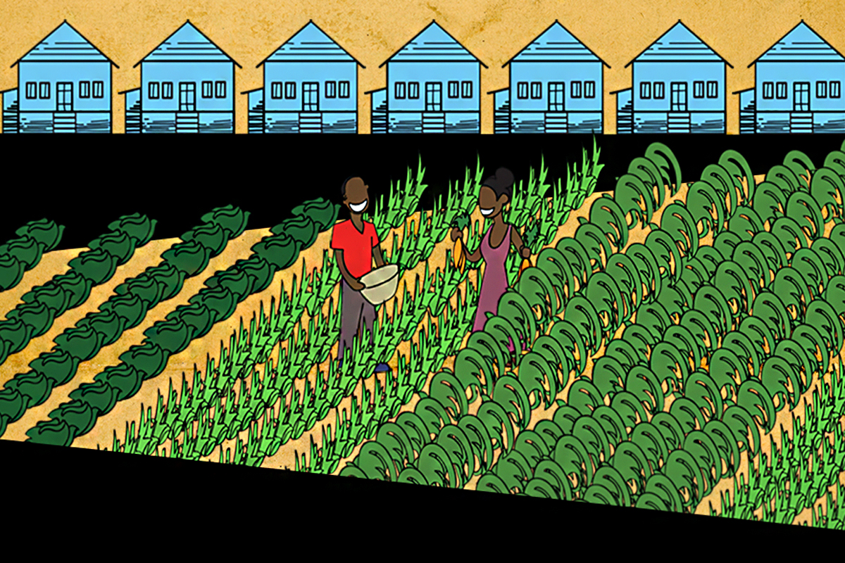 graphic of people standing in a food desert