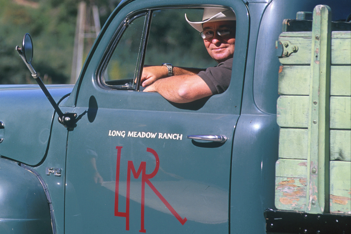 Ted Hall drives a Long Meadow Ranch Truck. (Photo courtesy of Long Meadow Ranch)