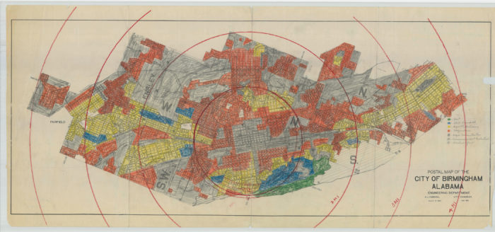 "The historic redlining map of Birmingham. The hand-drawn legend reads ""Best (green), Still desirable (blue), Definitely declining (yellow), Hazardous (red), Negro concentrations (gray)."" Click image for a larger version."