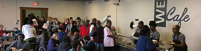 Lunch at the WE Community Café. (Photo courtesy of Urban Ministry)