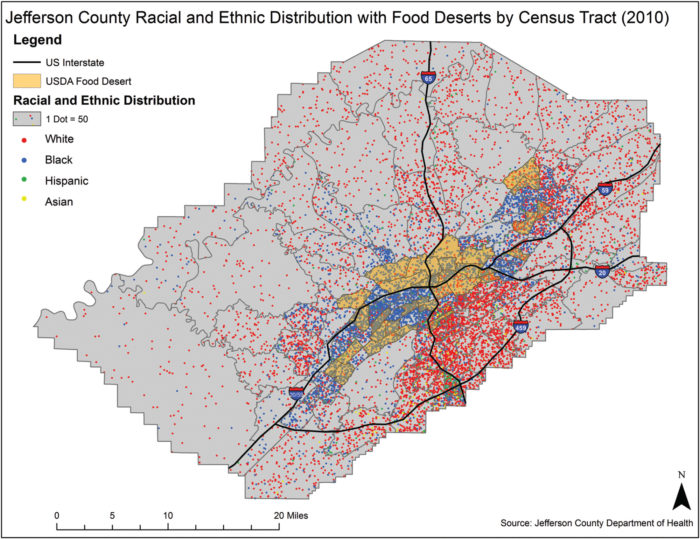 Where food deserts and neighborhoods of color overlap in Birmingham's Jefferson County.