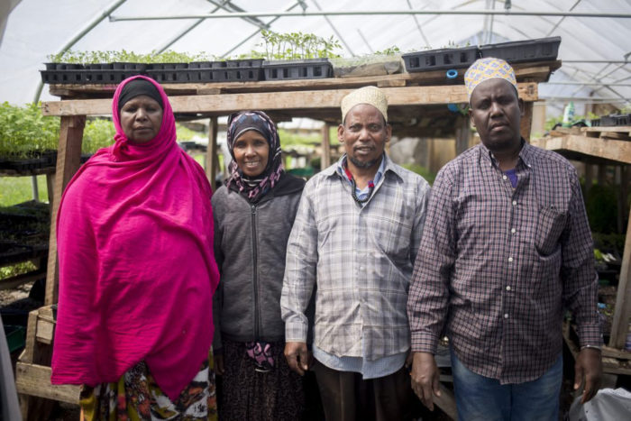 New Roots Cooperative Farm farmers: from left, Seynab Ali, Batula Ismail, Abdi, and Mohammed Abukar. (Photo courtesy of New Roots)