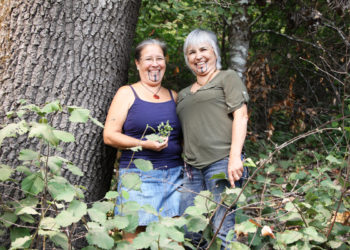 Elizabeth Azzuz and Margo Robbins, leaders of the Cultural Fire Management Council, have been helping Yurok Tribal members burn their land to improve the growth of basket materials and other traditional plants.
