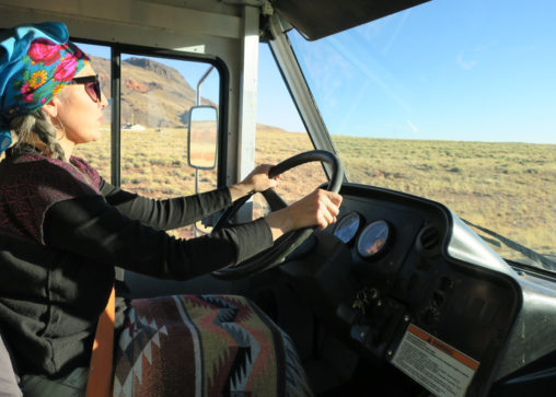 "Chef Felicia Cocotzin Ruiz driving ""the mutton,"" or the Mobile Unit for Training and Nutrition (MUTN). Photo courtesy of Felicia Cocotzin Ruiz."