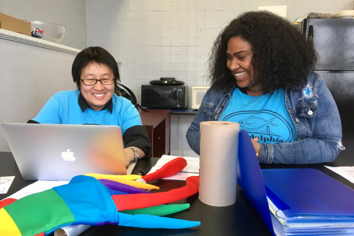 Fishadelphia program director Talia Young (left) and Youth Development Coordinator Tasha Palacio plan for the season. (Photo credit: Malachi Hannon)