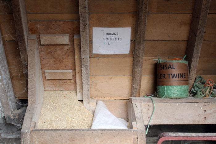 Organic 19% broiler feed. Photo by Lela Nargi