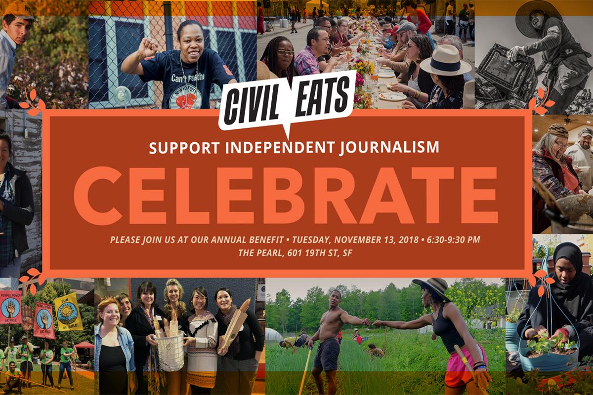 civil eats celebration logo and invitation