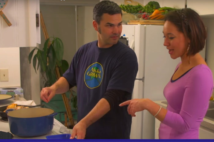 "Rob Kinneen cooking with one of the health educators at the Southcentral Foundation as part of his ""Fresh Alaska"" web series."