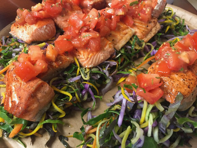 Roasted salmon served on a bed of Tyonek-grown vegetables; only the salt, pepper, and oil came from outside of Alaska. (Photo courtesy of Rob Kinneen)