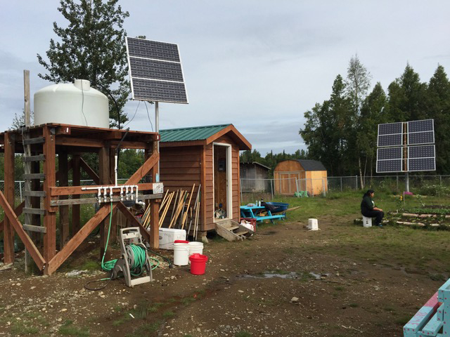 The solar-powered generator to irrigate Tyonek's community garden. (Photo courtesy of Rob Kinneen)