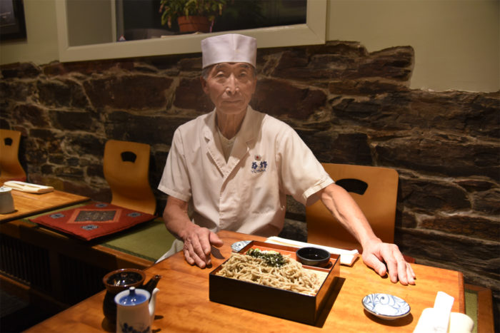 Takahiro Sato with the soba noodles he handcrafts in the kitchen of his Portland restaurant, Yosaku, using buckwheat from Aurora.