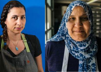 Reem Assil (left) and Lamees Dahbour; photos © Jim Sullivan.