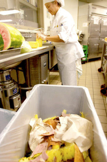 Separating organic waste in a commercial kitchen. (Photo CC-licensed by the Minnesota Pollution Control Agency)