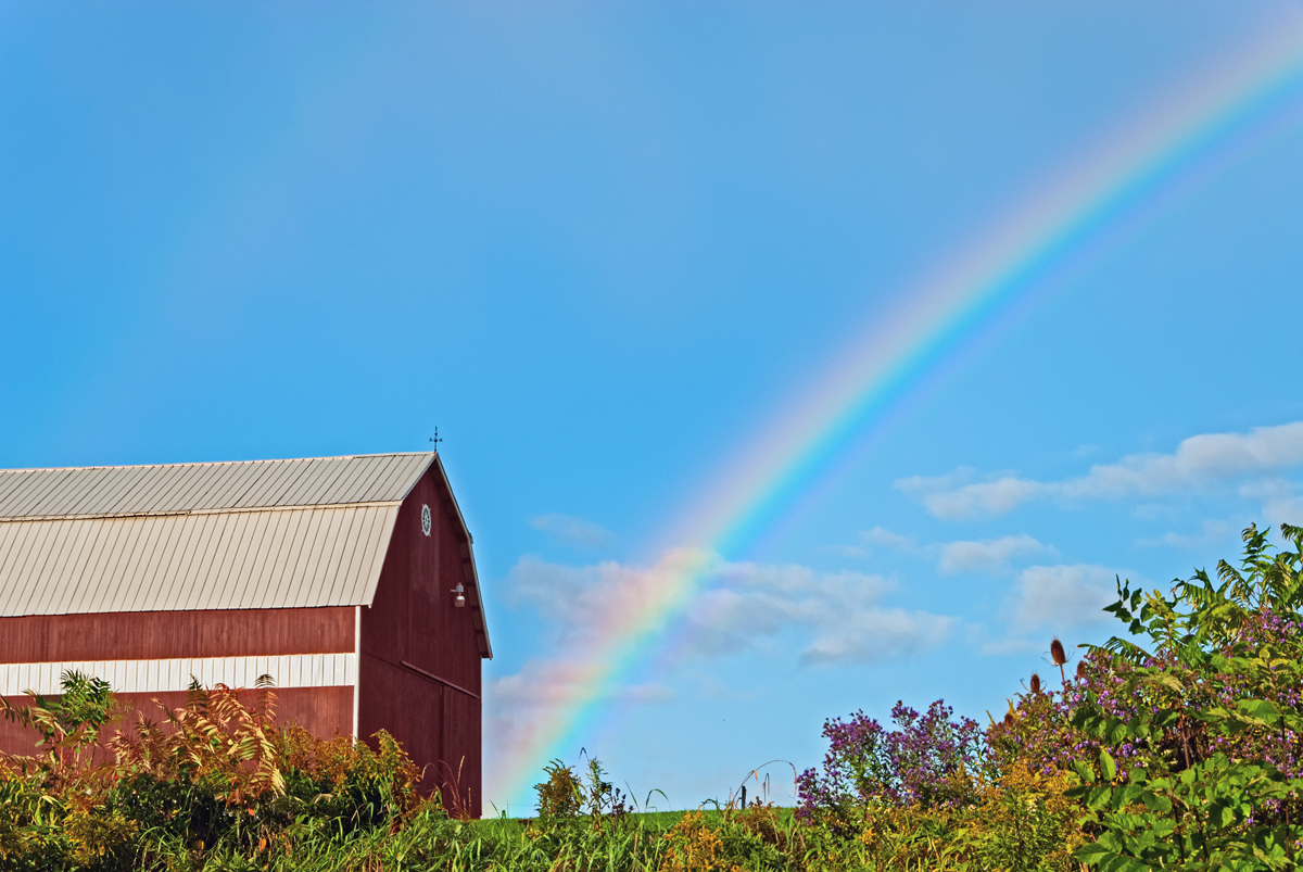 a rainbow over a farm and barn