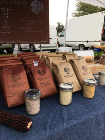 meadowlark organics grains for sale at the farmers' market
