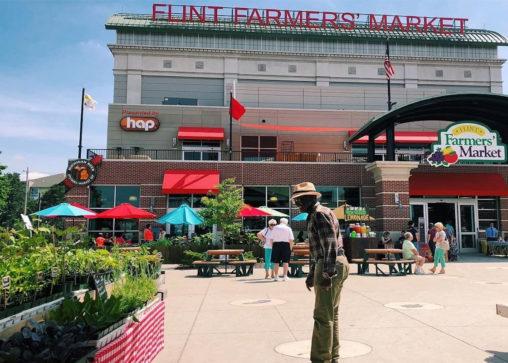 Outside the Flint Farmers' Market.