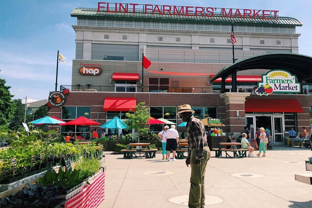 Outside the Flint Farmers' Market.