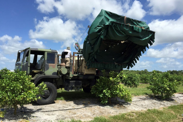 Thermotherapy trucks cover infected citrus trees with a canopy to heat treat them significantly reducing the amount of disease in the trees and increasing their productivity. (Photo CC-licensed by the USDA)