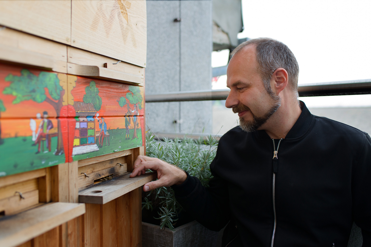 Gorazd Trušnovec, a professional beekeeper in Ljubljana, tends to the beehives on the balcony of the offices of the prime minister of Slovenia