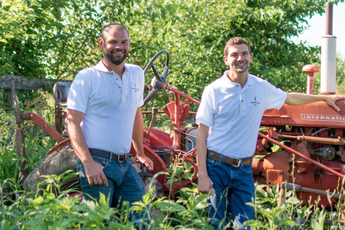 Thomas Sargent (left) and Robert Eversole on their farm, Crooked Row Farm. They are part of UK Dining's Local Salad Bar Program. (Photo © Sarah Caton)