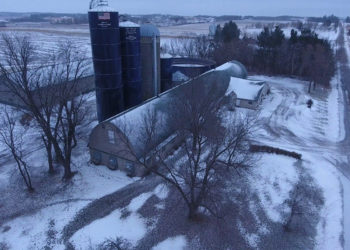 aerial view of the voelker family's dairy farm