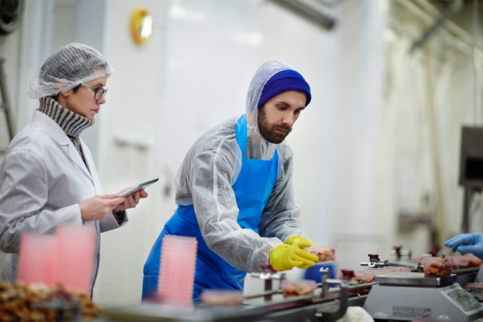 inspecting the food safety of food in a factory