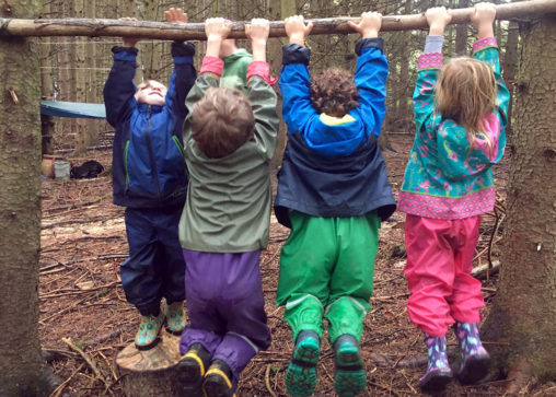 At the Flying Deer Nature Center, the local forest is the playground for students. (Photo credit: Flying Deer Nature Center)
