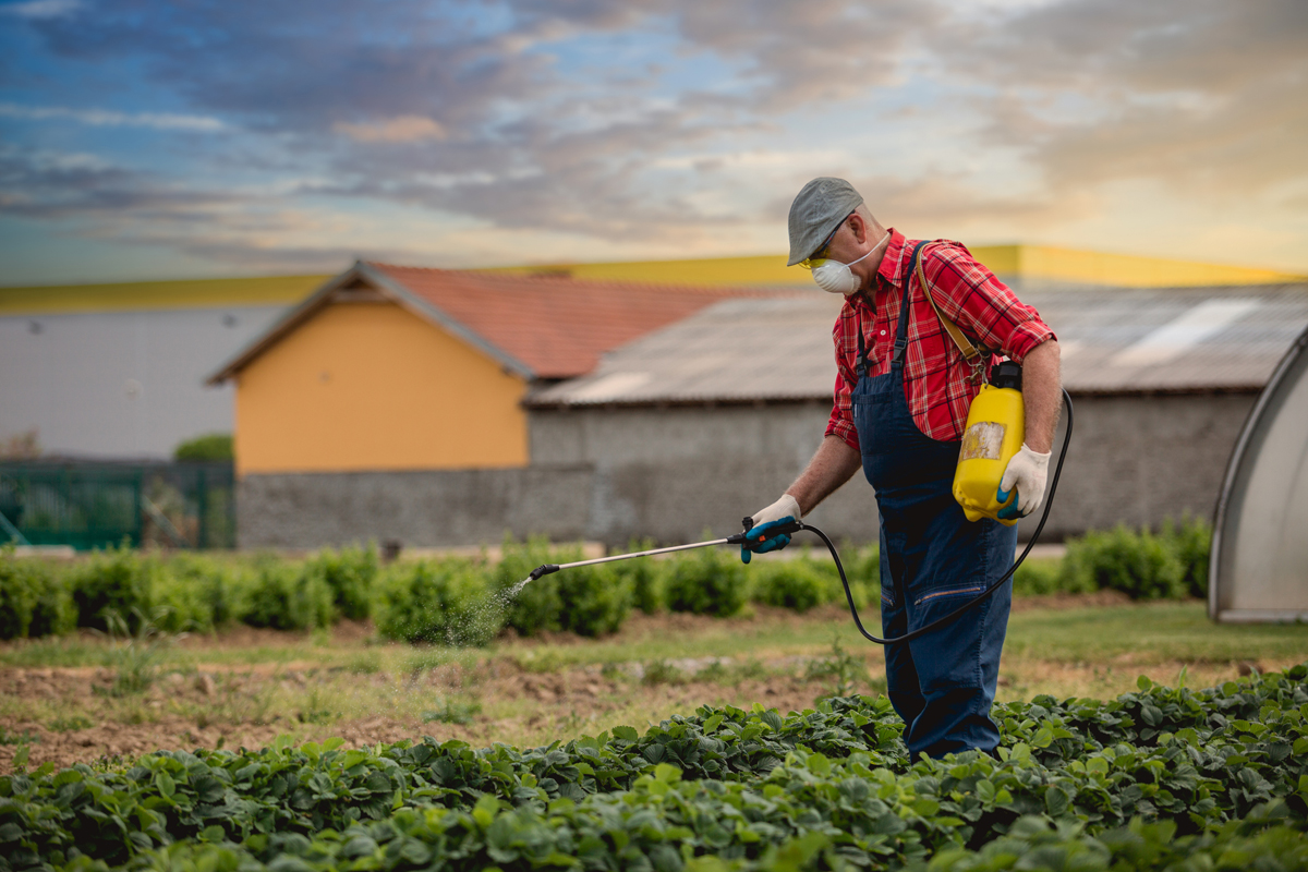 farmer spraying pesticides on his farm with a safety mask on