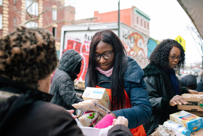 The Campaign Against Hunger staff (including Melony Samuels, back right), at one of TCAH's Mobile Pantries.