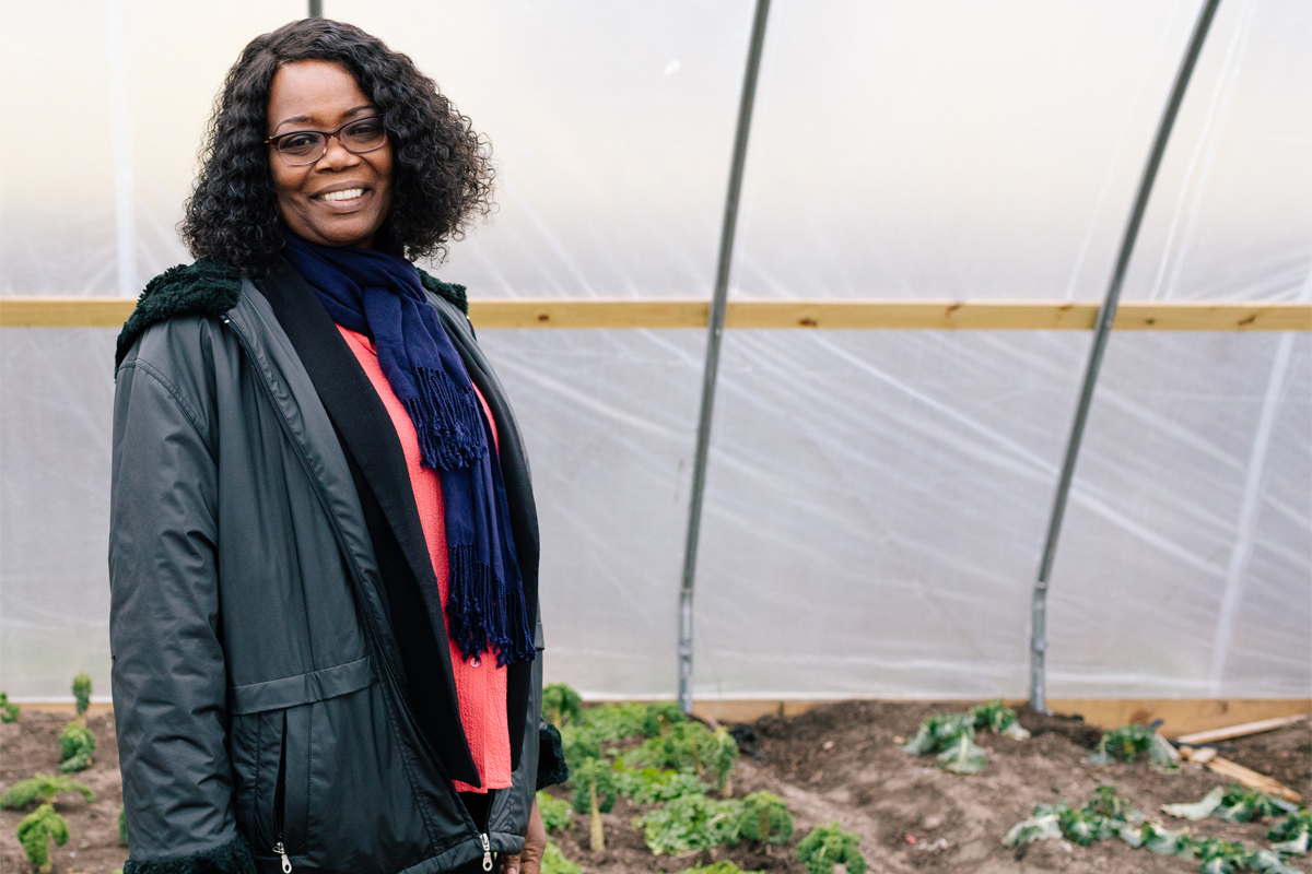 melony samuels in a hoop house providing food for Brooklyn residents