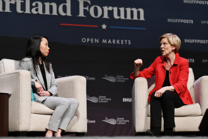 Senator Elizabeth Warren (right) speaks to Amanda Terkel. (Photo © Damon Dahlen / HuffPost)