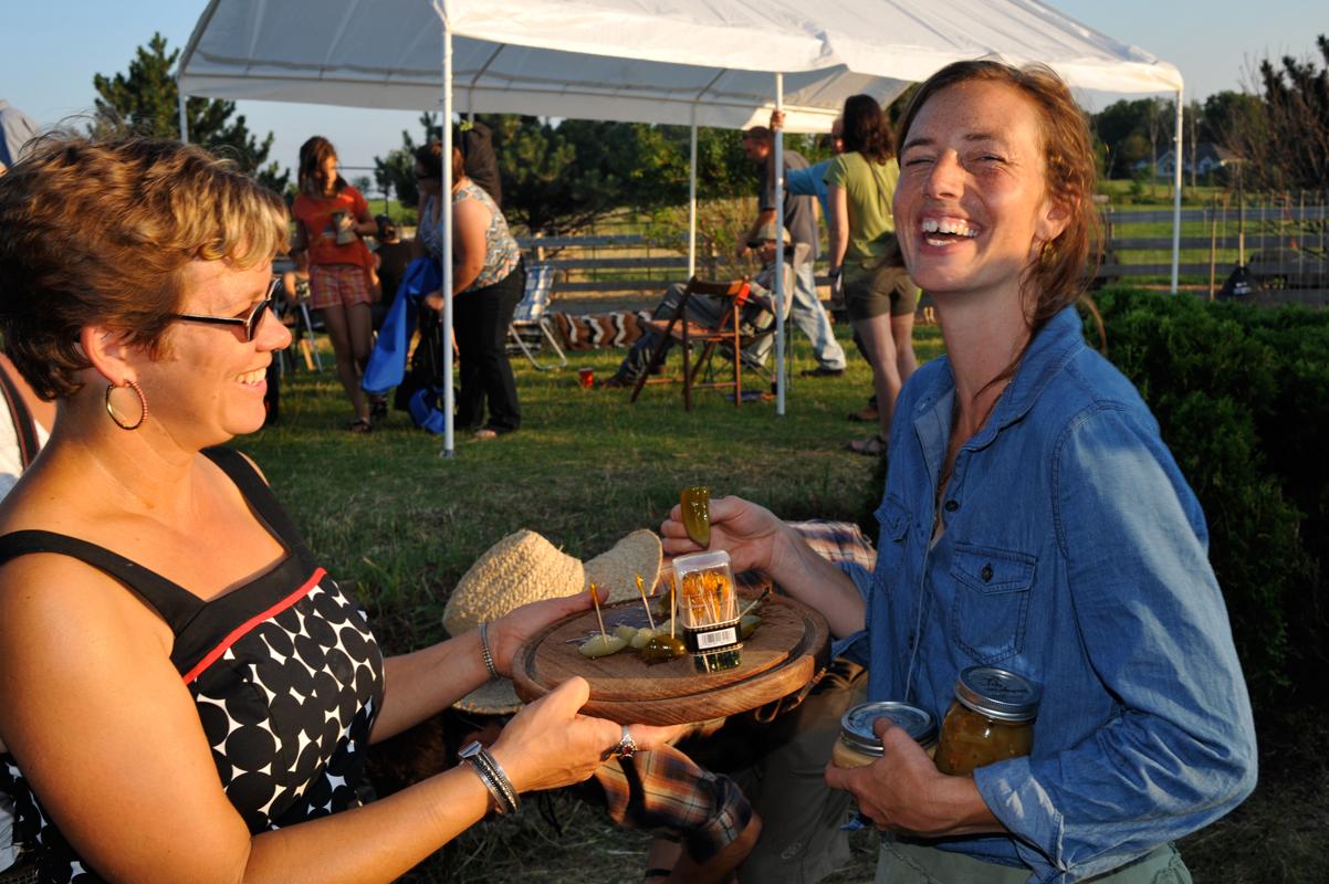 Lisa Kivirist (left) at one of her In Her Boots networking potlucks. (Photo courtesy of Lisa Kivirist)