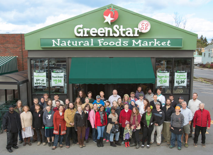 The staff at GreenStar Co-Op outside the market. (Photo credit: GreenStar, courtesy of AJP)