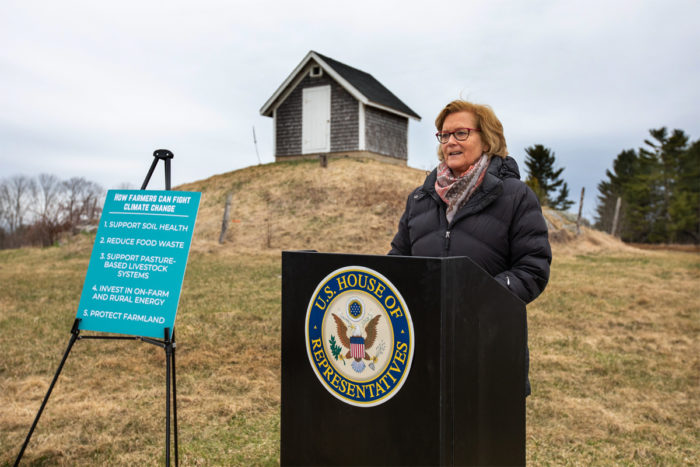 Chellie Pingree unveiled her five ag principles at Bumbleroot Organic Farm in Windham, Maine, in April. (Photo by Matthew Whalen Photography)