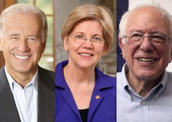 Joe Biden, Elizabeth Warren, Bernie Sanders portraits