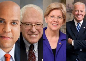 top presidential candidates cory booker, bernie sanders, elizabeth warren, joe biden