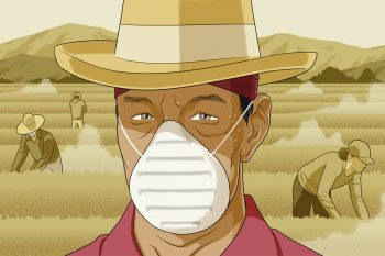 Illustration showing farmworkers in a dusty field where they're at risk of contracting valley fever