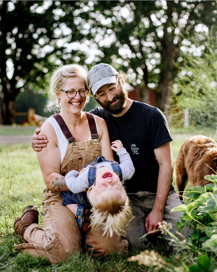 Christina, Zach, and Freddy Menchini of Campfire Farms. (Photo by Hannah + Kelty at The Weaver House)