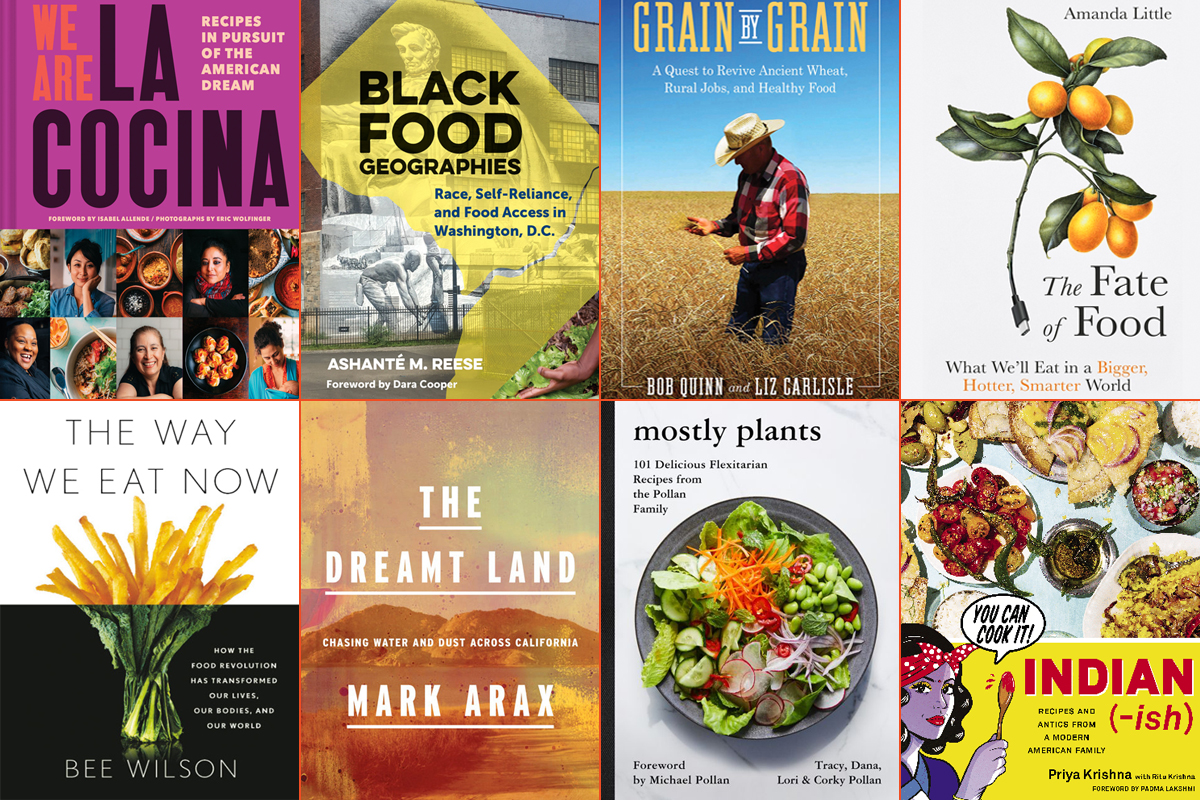 a collage of covers of summer reading food and farming books