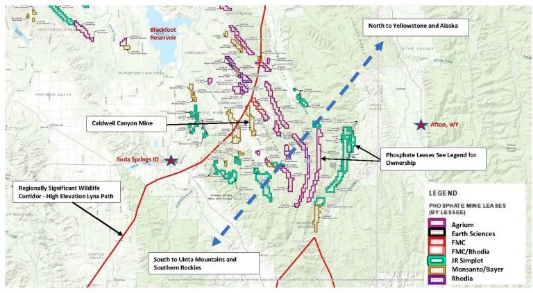 A map of phosphate mine ownership in southeastern Idaho.