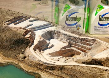 photo of a phosphate mine for glyphosate with roundup bottles superimposed