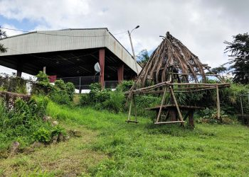 """The community garden pays tribute to Puerto Rico's history beyond just flora and fauna. The community built a """"Taino swing set"""" for the neighborhood children, modeled after the structures believed to have been built by the Tainos and used for recreation. Photo by Katie Rice."""