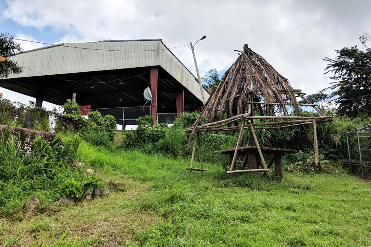 "The community garden pays tribute to Puerto Rico's history beyond just flora and fauna. The community built a ""Taino swing set"" for the neighborhood children, modeled after the structures believed to have been built by the Tainos and used for recreation. Photo by Katie Rice."