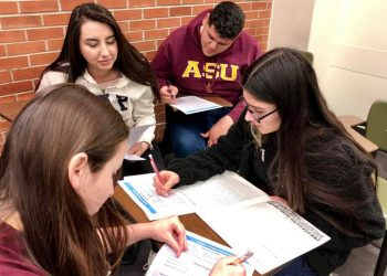 A study group as part of ASU's CAMP program. (Photo courtesy of Seline Szkupinski Quiroga)