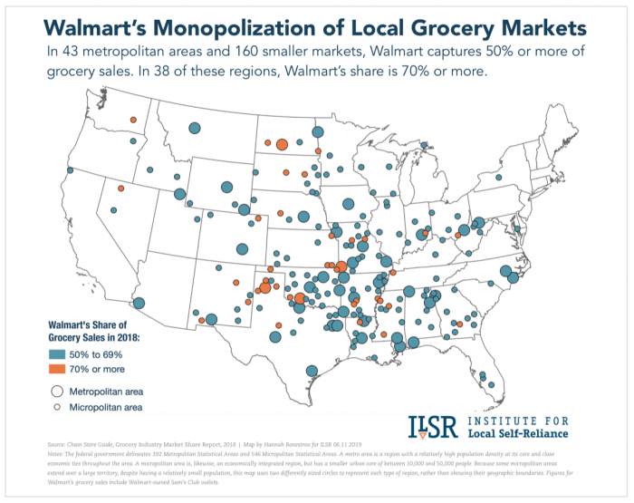 A map of Walmart's regional grocery market share by the Institute for Local Self-Reliance.