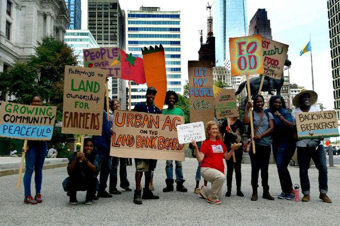 A protest to protect community gardens in Philadelphia. (Photo courtesy of Soil Generation)
